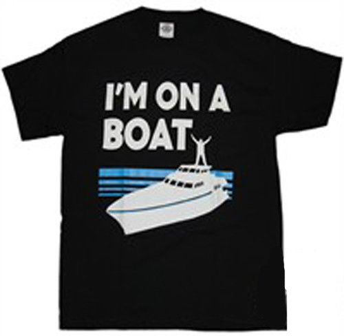 Gildan SATURDAY NIGHT LIVE SNL IM ON A BOAT BLACK T-SHIRT BRAND NEW