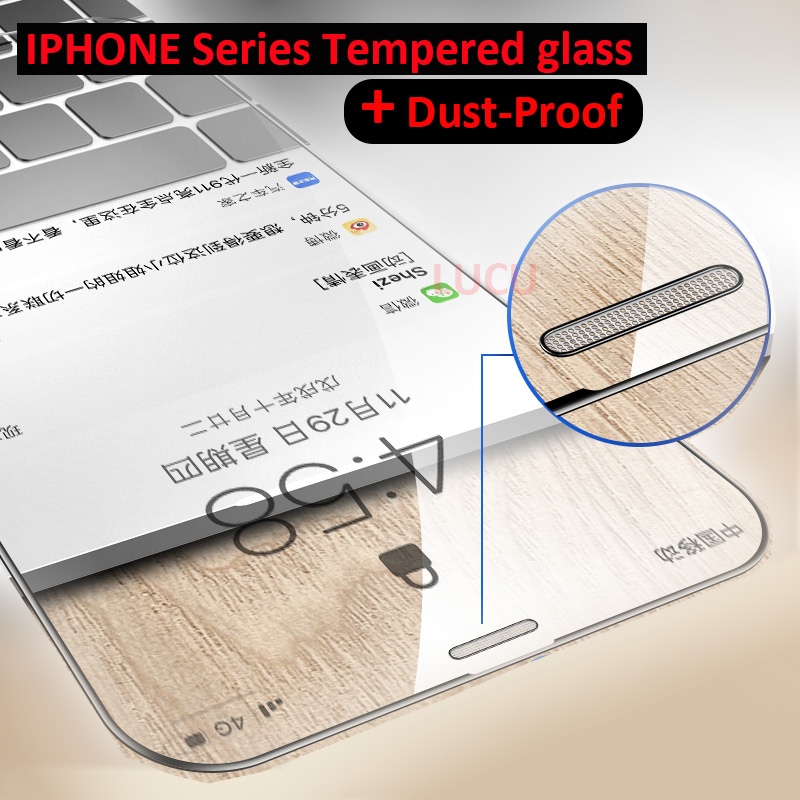 9H Full Cover Tempered Glass For Iphone X XS MAX XR Screen Protector Iphone 6 6S 7 8 Plus Dustproof Metal Mesh Protective Film