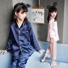2019 Spring Girls Pajamas Set home Clothes Sleepwear Silk Fabric Children Summer Boy Nightwear Kids clothing