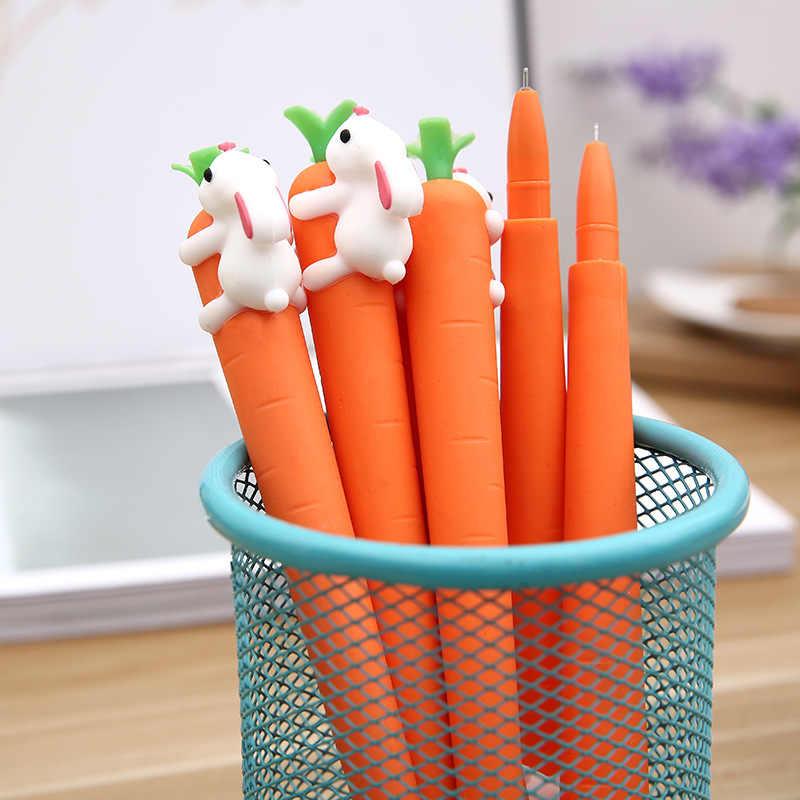 1 X kawaii креативный кролик едят морковь гелевая ручка нейтральные ручки канцелярские школьные принадлежности офисные школьные принадлежности