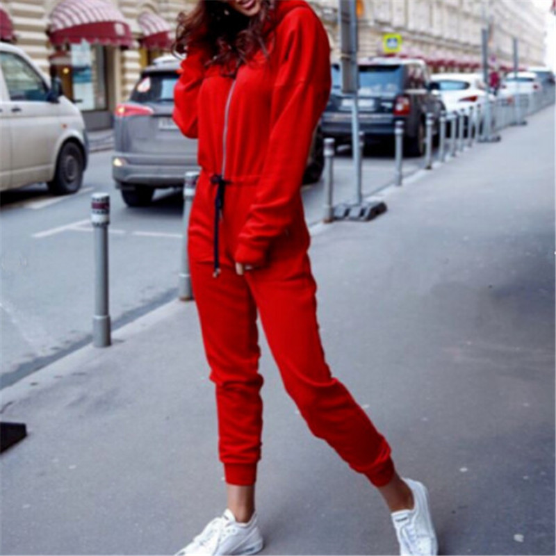 Fashion Women's Front Zipper Up Hoodie Jumpsuit Casual Long Sleeve Playsuit Autumn Winter Pure Color Hooded Jumpsuit Long Pants