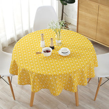 Nordic polyester cotton round tablecloth, colored and linen printed tablecloth