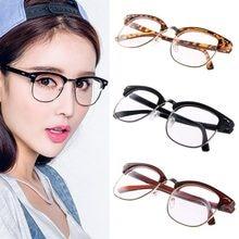 828b69ecd7 1PC Fashion Metal Half Frame Glasses Frame Retro Woman Men Reading Glass UV  Protection Clear Lens Computer Eyeglass Frame