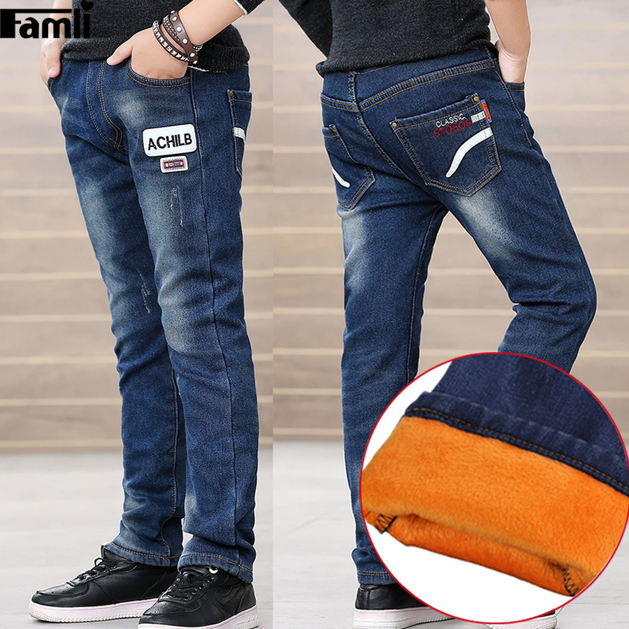 a51b2c40caaf Famli Kids Winter Jeans Boys Thick Fleece Lined Trousers Children ...