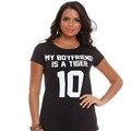 Punk Style Mujeres Camiseta de Mi Novio Es Un Tigre 10 Letras Pritn Funny T Shirts Casual Algodón Hipster Womens Camisetas de La Moda