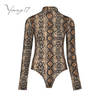 Young17 jumpsuit women skinny thin shorts leopard print patchwork mid waist jumpsuit long sleeve female new sexy women jumpsuits