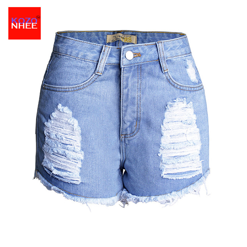 Distressed Denim Shorts Women Ripped Jeans with high waist Sexy Thin Jeans for girls Hole Denim Shorts Women stylish denim ripped shorts for women