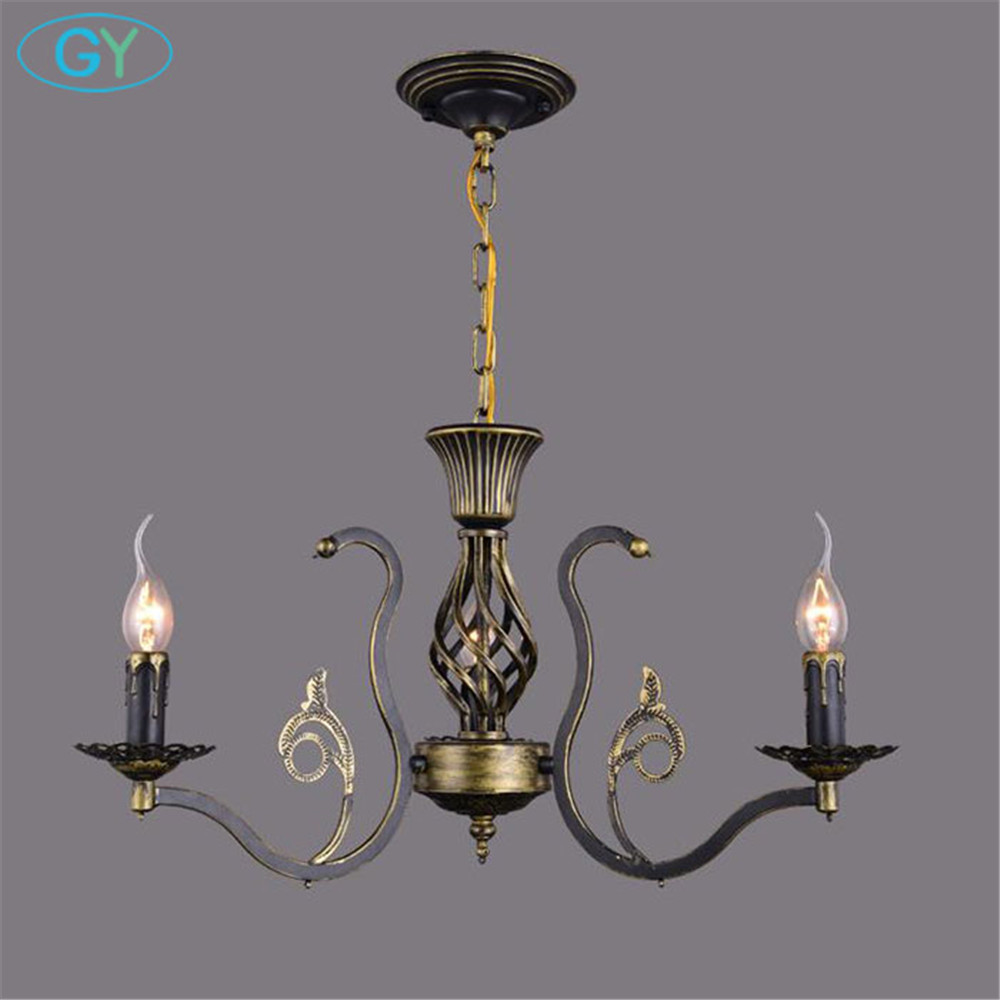 AC110-220V W55*H33cm 3pcs E14 candle lights Europe Style Vintage chandelier lamps fixture Rustic kitchen dining room lighting multiple chandelier lights blue iron candle lamps bedroom lamps rustic lighting 3 heads hotel lighting lamps