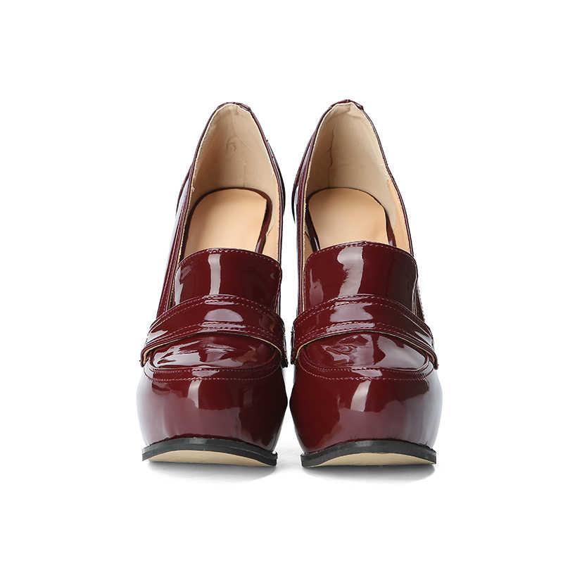 Kcenid Artı boyutu 35-47 yeni patent deri kadın platformu pompaları seksi yüksek topuklu zarif pompalar yuvarlak ayak parti ayakkabıları kırmızı şarap 2019