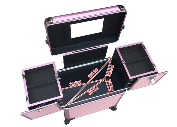 Pvc Box platte schwarz Organizer Rosa Aluminium rosa Fall Salon Kosmetische Rahmen Mit Make Schwarzes up Trolley Walz HEwwFBxq