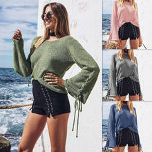 Women Long Flare Sleeve Loose Pullovers Tops Knitted Lace Up Cotton Sweater 2018 Autumn Winter(China)