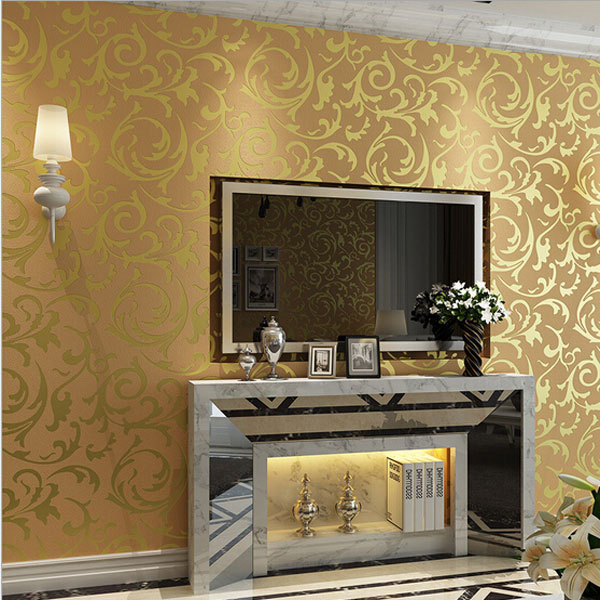 Us 25 51 42 Off Beibehang Papel Parede Papel Parede Leaves Mural Wallpaper Roll Silver Golden Beige Non Woven Wall Paper 3d Stereoscopic Wall Pa In