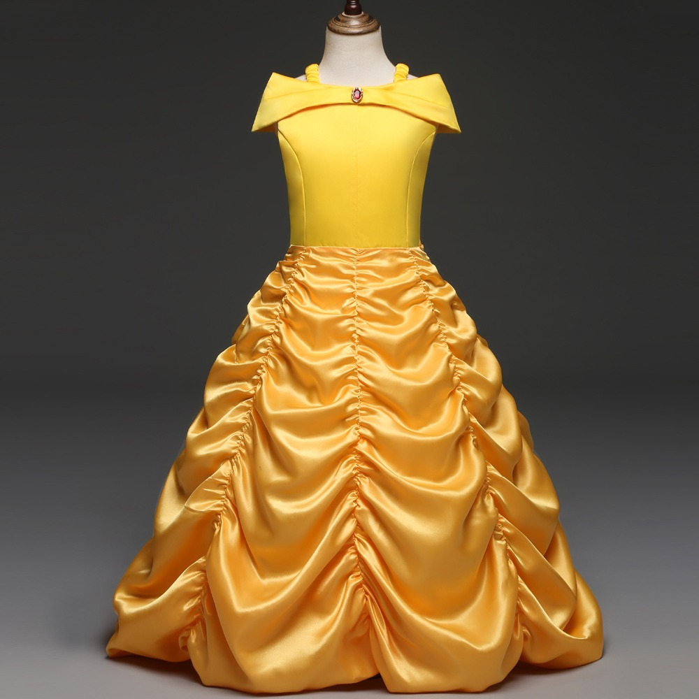 Halloween Beauty and the Beast Costume Child Girls Princess Belle Dress Yellow Long Dress Cosplay Party Fancy Outfit Girls