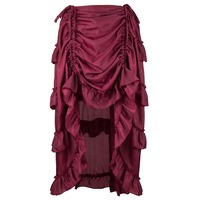 Victorian Ruffles Layer Maroon Pleated Skirt Steampunk Jupe Longue Gothic Adjustable Front Short Back Long Skirts Plus Size6XL