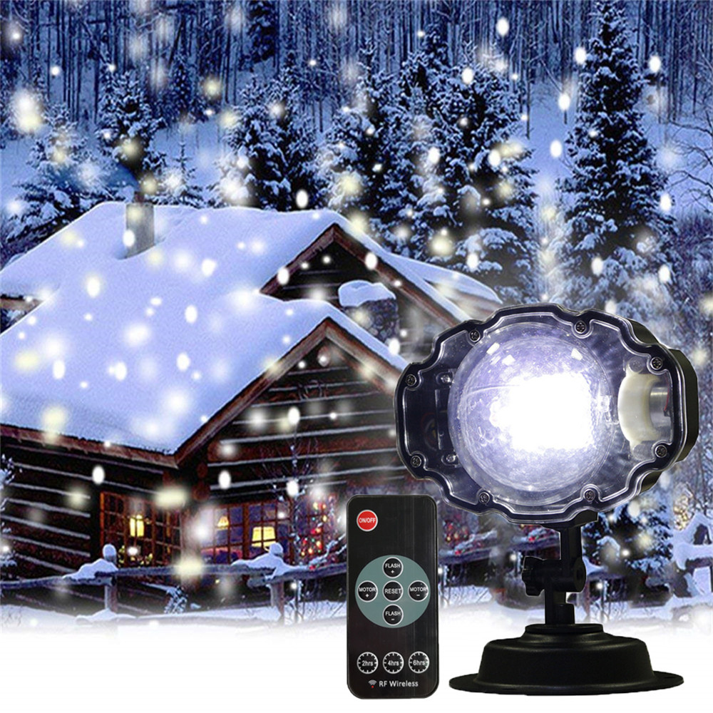 цена на Mini Christmas Snowflake Laser Projector Lamp Outdoor Moving Snow Projector Light Garden Xmas Snowfall LED Spotlight
