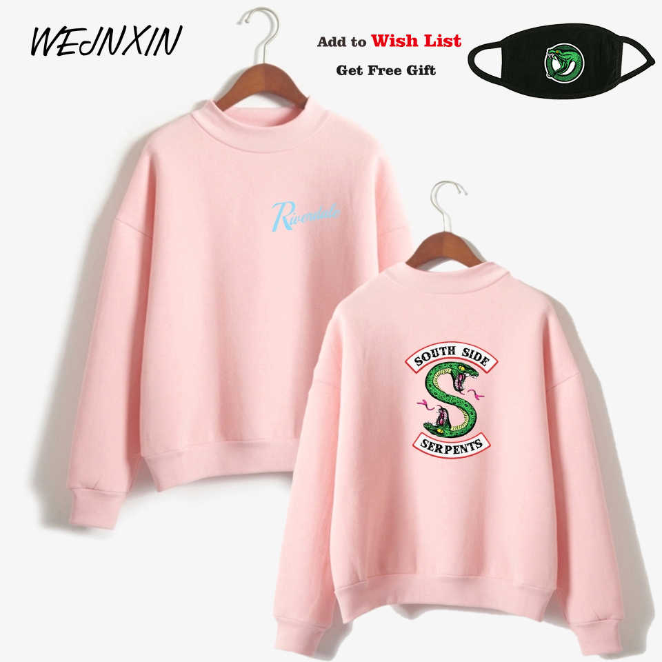 WEJNXIN Riverdale Graphic Turtleneck Hoodies For Women Befree South Side Serpents Fleece Sweatshirt Pink Streetwear Camisetas