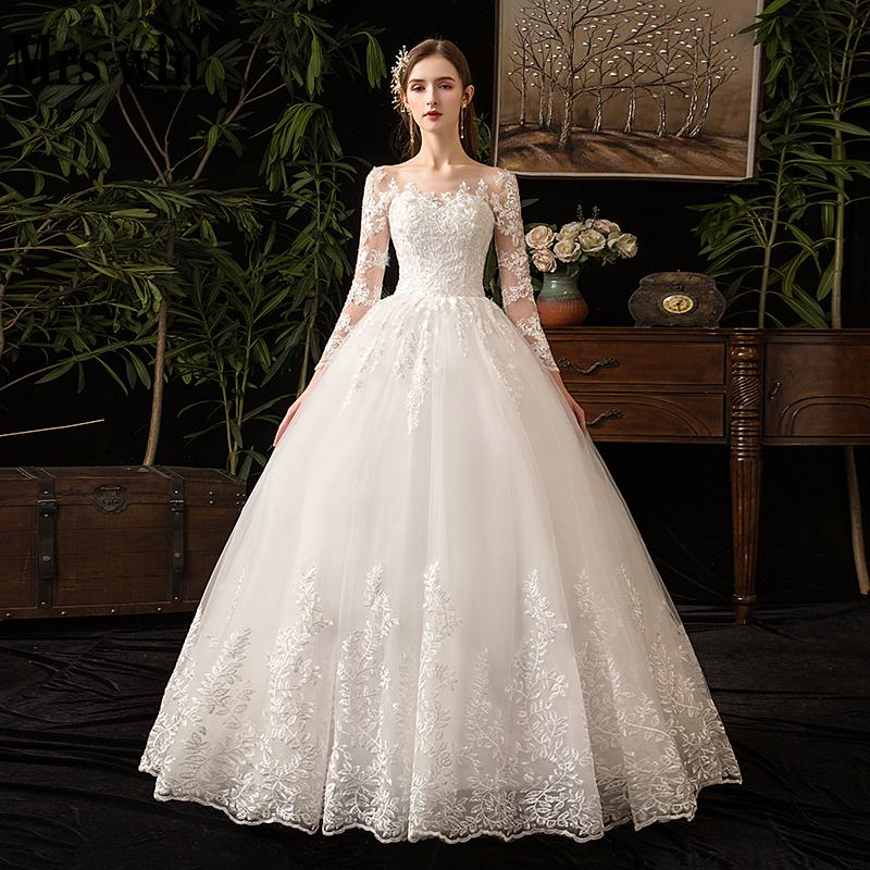 2021 Full Sleeve Lace Wedding Dresses New Luxury Muslim Ball Gown Wedding...