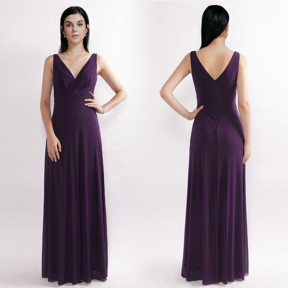 Evening Dresses Ever Pretty Purple A Line V Neck