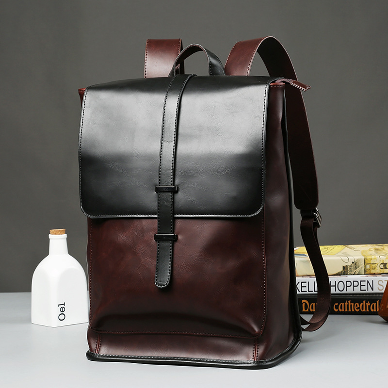 2018 Vintage desisgn Men leather bags/ Faux crazy horse PU leather male multi-purpose backpack Daily travel backpack black faux leather pebbled backpack page 2