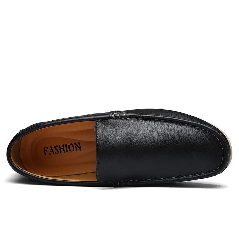 Respirável Moda Condução Homens Casuais On Black Sapatos Preguiçosos De brown blue Slip Couro f11Xwaq