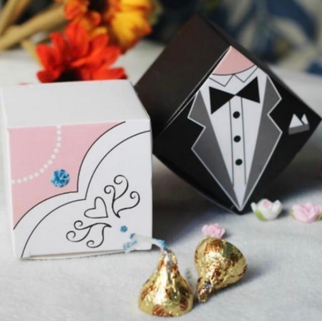 100Pcs Hot Sale Promotion! White / Black Tuxedo Bride & Groom ...