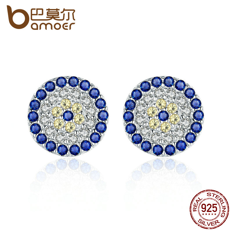 BAMOER 100% Genuine 925 Sterling Silver Blue Eyes Clear Cubic Zircon Crystal Stud Earrings for Women Silver Jewelry SCE057