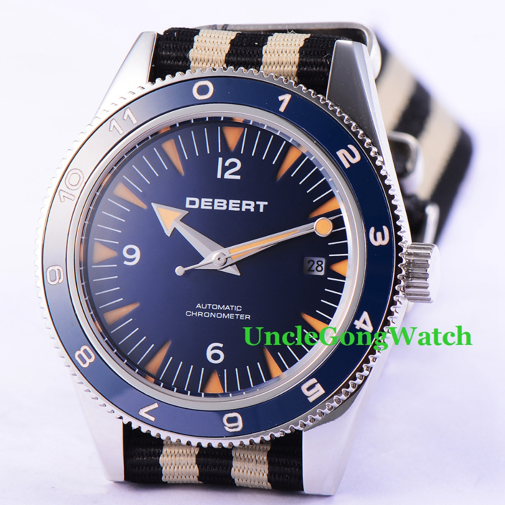 Debert 41mm Blue Dial Sapphire Glass Ceramic Bezel Fabric Strap Date Miyota 821A Automatic Mens Wrist Watch debert 41mm blue dial ceramic bezel leather strap miyota automatic mens watch