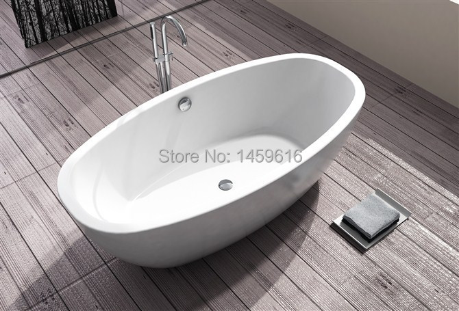 Sea freight freestanding bathtub and acrylic +ABS composite board soaking tub W8016-in Bathtubs