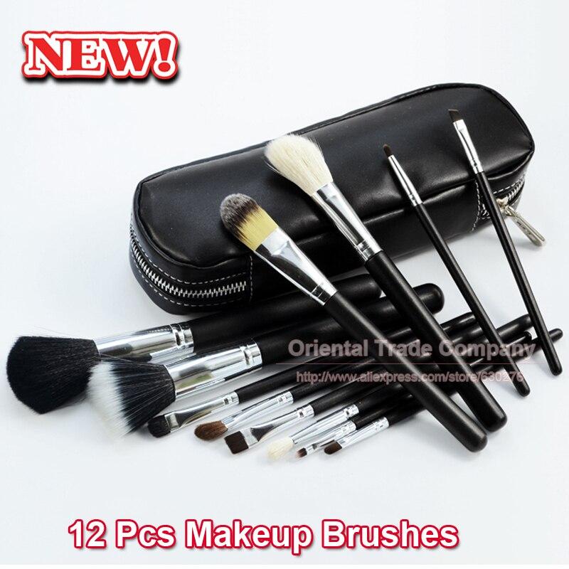 TOP Qualität! professionelle 12 STÜCKE Kosmetische Gesichts Make-up-bürsten-ausrüstung Wolle Make-Up Pinsel-werkzeug-satz mit Schwarz Ledertasche