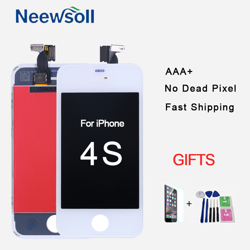 LCD Touch Screen for iPhone 4 4s 5 5s 5c SE Display Assembly Replacement Black White Panel With Tempered Glass