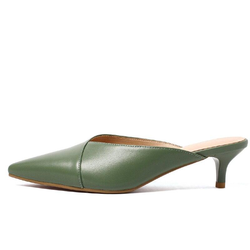 Zapatillas de cuero genuino ISNOM para mujer, calzado de punta estrecha, zapatos de tacón fino, zapatos de mulas para mujer, zapatos de verano 2019 nuevo-in Zapatillas from zapatos    2