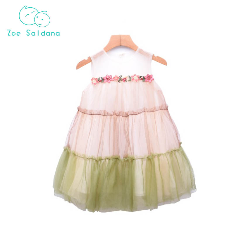 Zoe Saldana 2018 Baby Girls Flower Dresses Children Summer Sleeveless A line Princess Dress Children Clothing