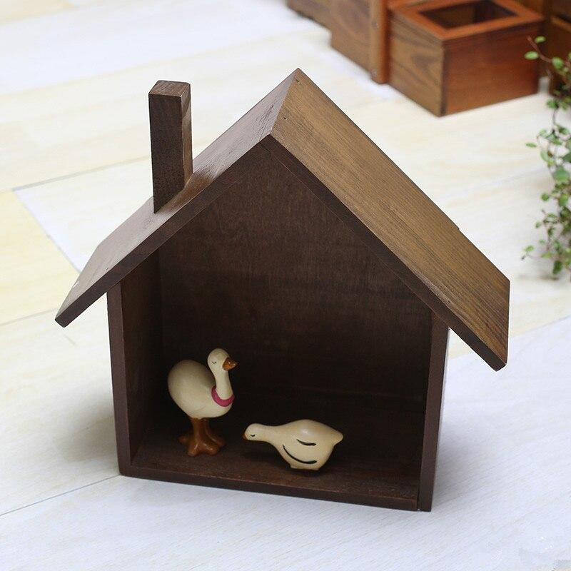 AIBEI-Zakka Retro Small House Model Wooden Box 1PC Creative Wall Hanger Storage Boxes Shelf Home Decor Crafts