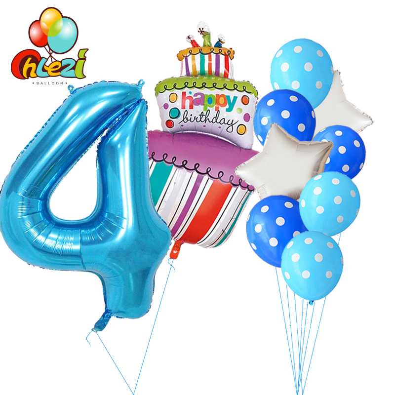 10 Pcs Baby Shower 1st 2 3 4 5 Birthday Party Decor 40inch Number Foil Balloons Supplies Boy Girl Balls Latex Helium Globos In Ballons Accessories