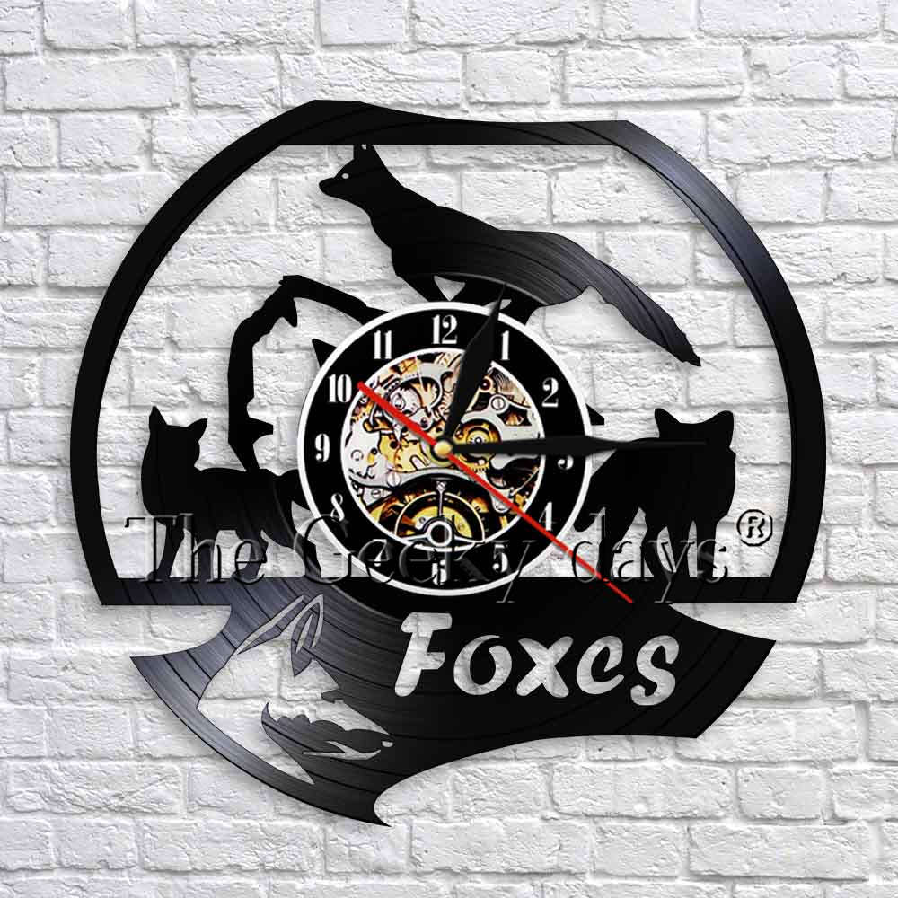 1Piece Wild Animal Fox Wall Clock Modern Design Handmade Vinyl Record Wall Clock Foxes Family 3D Wall Watches Nursery Wall Decor