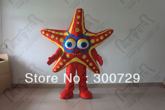 e8c06d049879 hot sale starfish mascot costumes red star fish onesies for adults ...