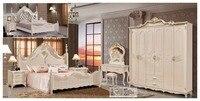 Современный европейский твердой древесины кровать Моды Резные кожа французский спальный гарнитур мебель king size HC00110