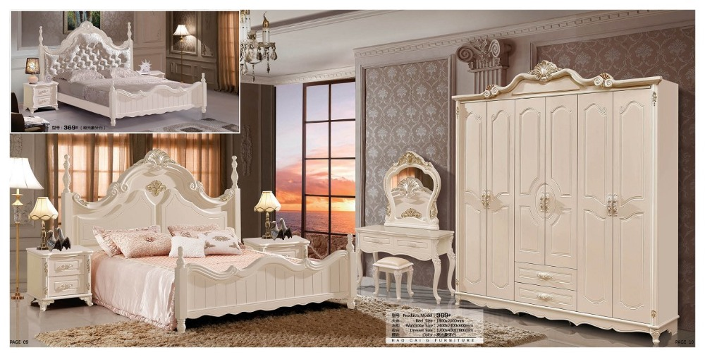 modern european solid wood bed fashion carved leather french bedroom set furniture king size