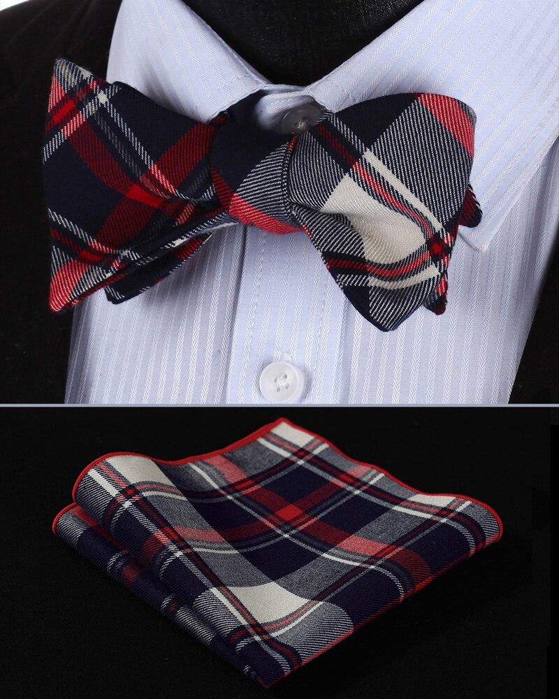 d7a2b5e2ac7f BMC403R Red Navy Blue Check 100%Cotton Jacquard Men Butterfly Self Bow Tie  BowTie Pocket Square Handkerchief Hanky Suit Set-in Men's Ties &  Handkerchiefs ...
