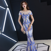 Women Fashion Wedding Prom Long Dress Sexy Fishtail Slim Dresses Stage Dance Wear Evening Celebrate Host Sparkly Dress Costume