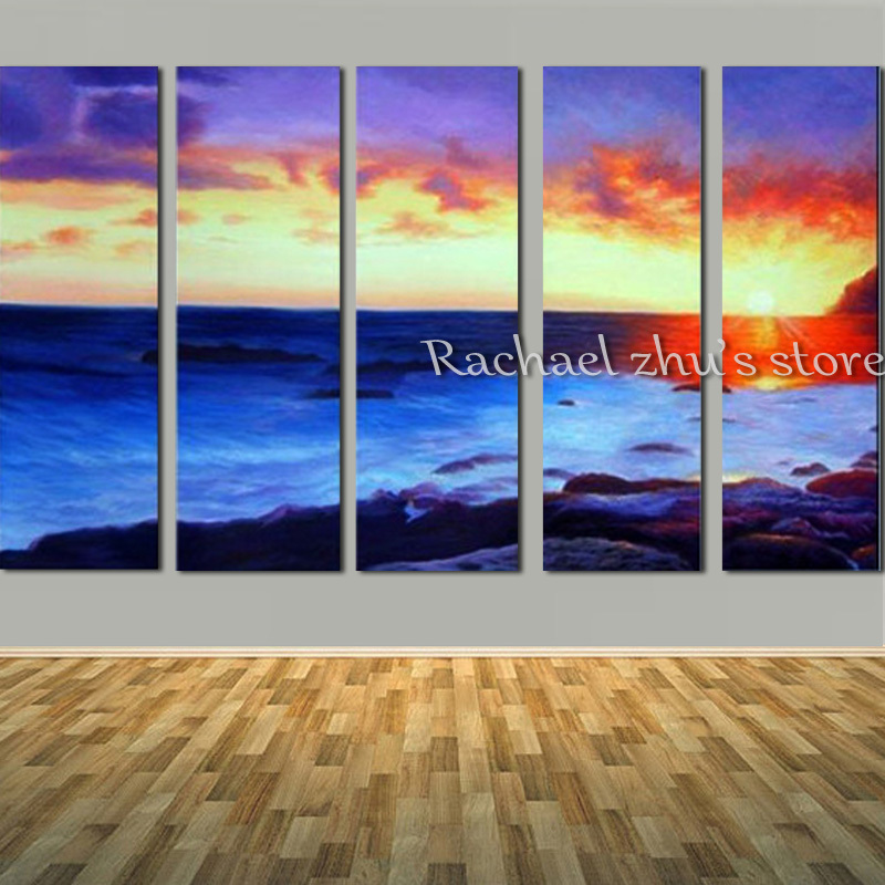 Hand Painted 5 Panles Sea Beach Sunrise Landscape Oil Painting On Canvas Seascape Wall Art Picturers For Living Room Home DecorHand Painted 5 Panles Sea Beach Sunrise Landscape Oil Painting On Canvas Seascape Wall Art Picturers For Living Room Home Decor