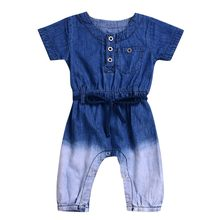 MUQGEW girls jeans kids Newborn Baby Girls Boys Gradient Jeans Denim Romper Jumpsuit Casaul Clothes jeans toddler #6-7(China)