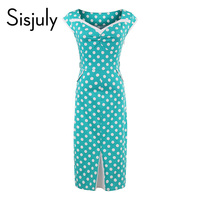 Sisjuly lady sexy bodycon dress dot pencil sleeveless mid calf summer v neck dress cotton blends pullover special design hot
