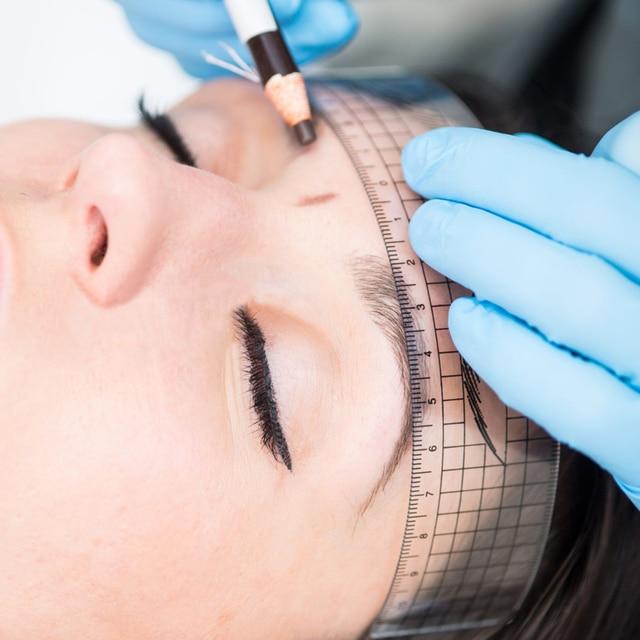 Microblading Eyebrow Ruler 3Pcs Permanent Makeup Plastic Transparent Measure Shaping Tool Reusable Eyebrow Stencil Tattoo Supply