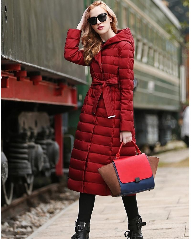 Women Ultra Light And Warm X Long Goose Down Coat With Hood Autumn ...