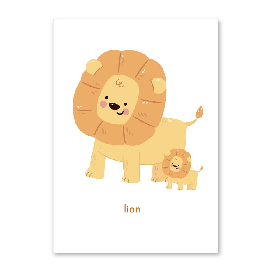 Cartoon Lion Animal Posters and Prints Minimalist Wall Art Canvas ...