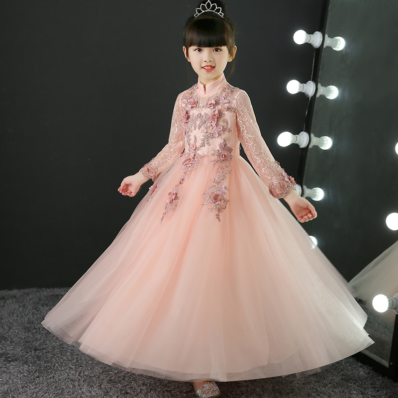 Children Girls Elegant Embroidery Flowers Princess Lace Dress Kids Babies Birthday Wedding Long Dress Costume Ball Gown Dress girls birthday wedding evening party embroidery flowers lace princess dress children kids model show costume pageant long dress