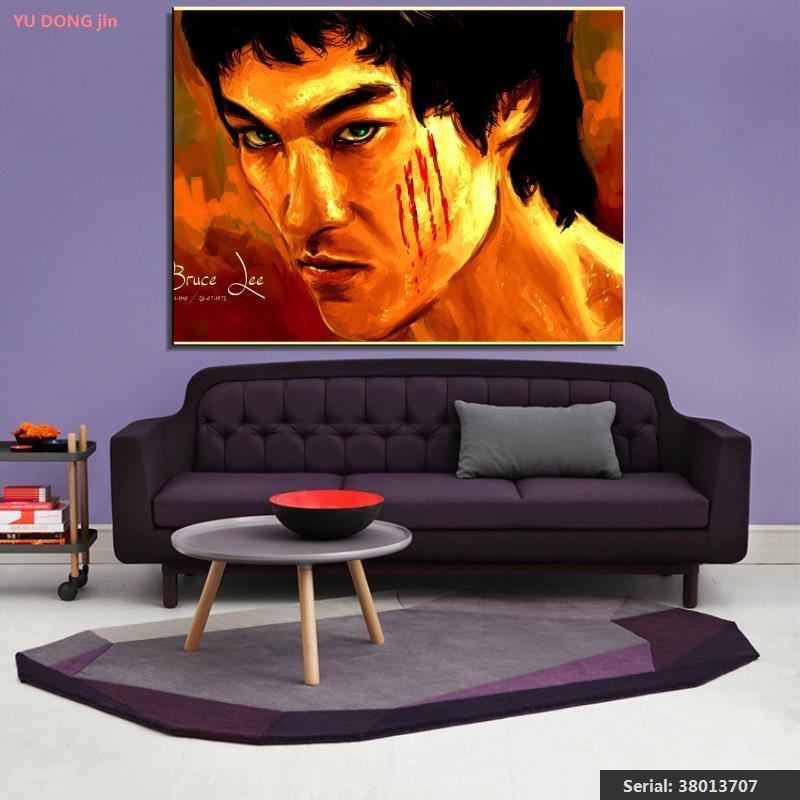 Bruce Lee Portrét Klasický olej Malba Kresba umění Sprej Bez rámečku Plátno kuchyňský drát kuchyně krajina víno vosk38013707