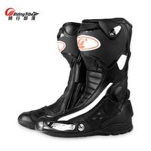 Pro байкерские кожаные мотоциклетные ботинки; ботинки для скоростных гонок; мотоциклетные ботинки для внедорожников; небьющиеся водонепроницаемые гоночные ботинки для верховой езды