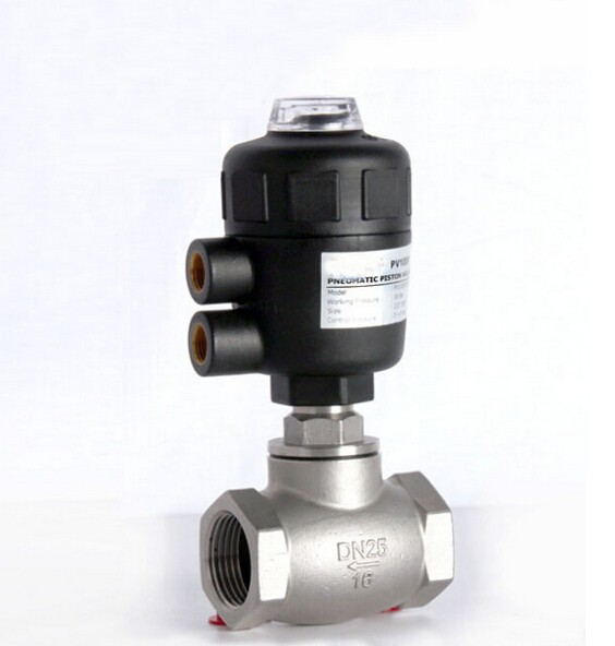 1 1/4 inch 2/2 way pneumatic globe control valve angle seat valve normally closed 63mm PA actuator globe valve 2 way nc 1 1 2 in f npt